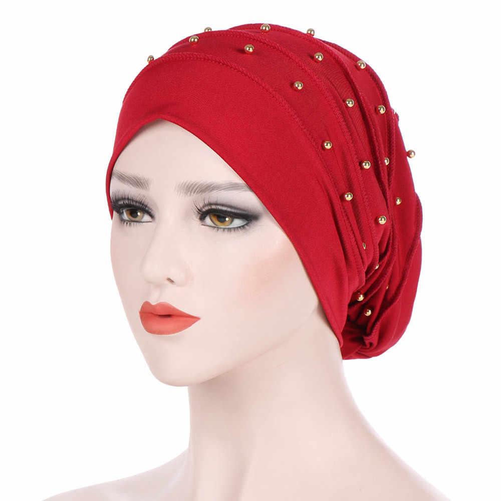 Muslim Beanie Wanita Manik-manik India Topi Muslim Ruffle Kanker Kemo Beanie Syal Sorban Wrap Cap Jilbab Tengkorak Baru 2020