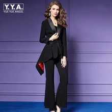 Fashion Black Office Clothes Women Suits Formal 2 Pieces Female Slim Luxury Casual Business Suits Ladies Wide Leg Pants Costume(China)