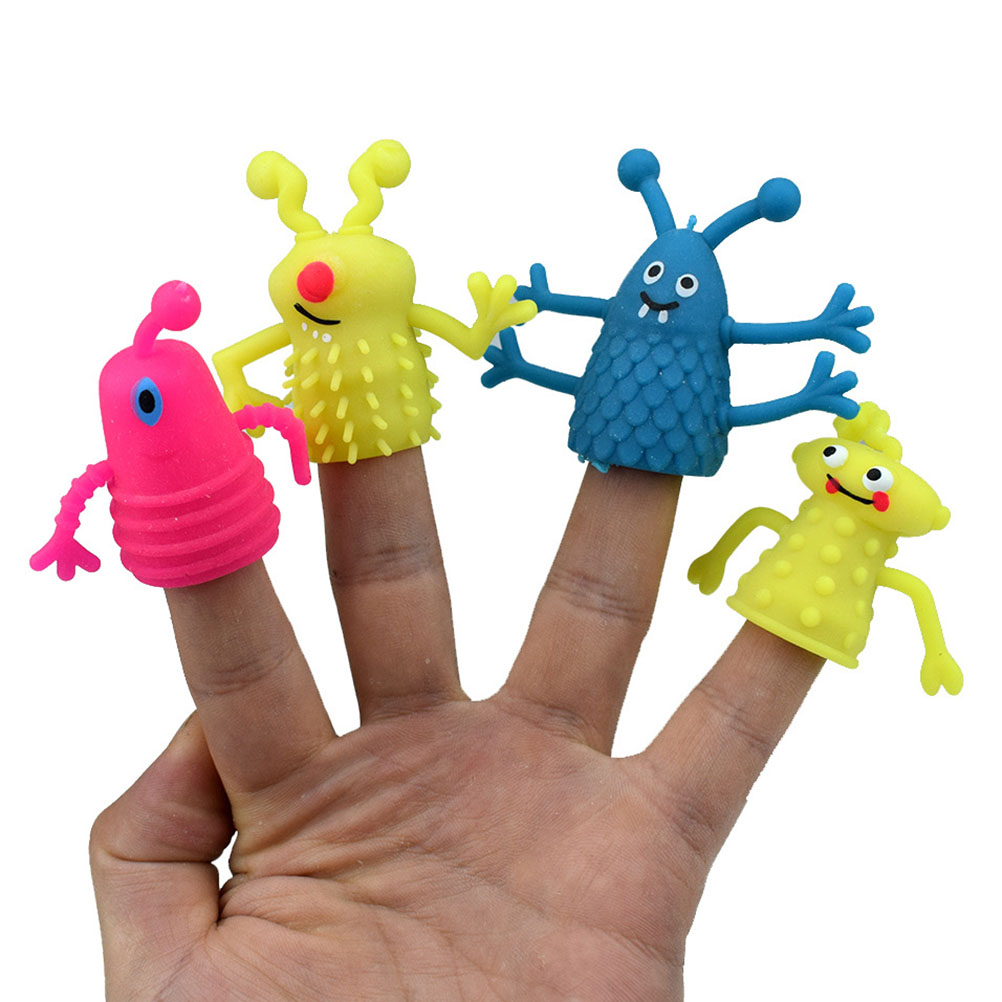 4Pcs/Set Cute Cartoon Finger Puppets TPR Plastic Children Kids Finger Puppets Toy Parents Props Random Color