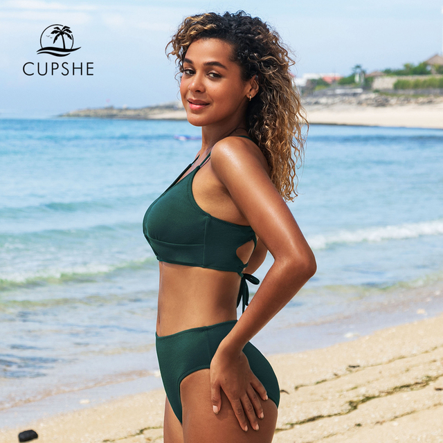 CUPSHE Solid Green Lace Up Bikini Sets Sexy Cut Out Swimsuit Two Pieces Swimwear Women 2021 New Beach Bathing Suits 5