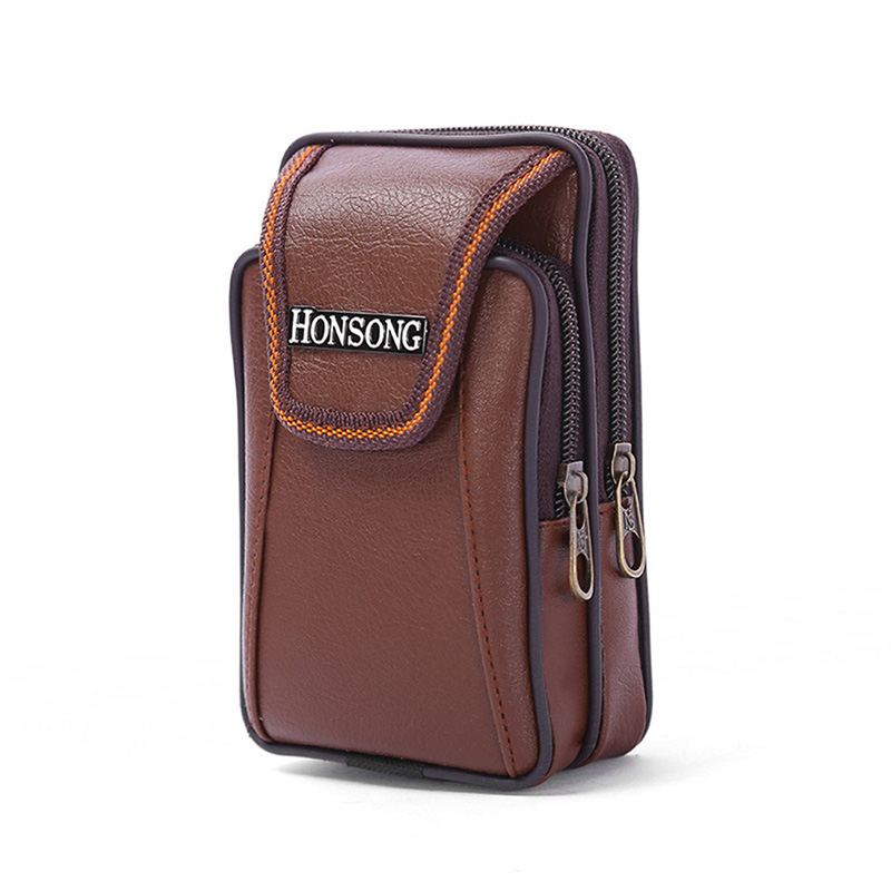 New Men's Pockets Vertical Mobile Phone Bag Double Zipper Belt Belt Purse Soft Leather Men's Wallet High-end Mobile Phone Pocket