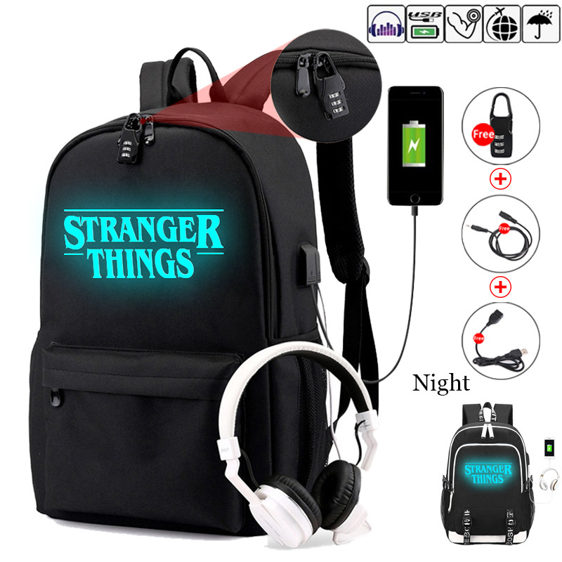 Stranger Things Teenage Backpack for Boys Girls Luminous School Bag USB charging Anti theft and Waterproof backpack for school-in Backpacks from Luggage & Bags