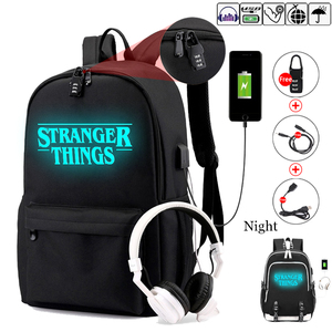 Image 1 - Stranger Things Teenage Backpack for Boys Girls Luminous School Bag USB charging Anti theft and Waterproof backpack for school