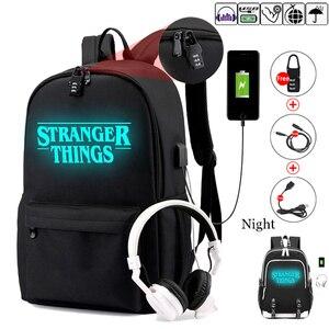 Image 1 - Étranger choses adolescent sac à dos pour garçons filles lumineux sac décole USB charge Anti vol et étanche sac à dos pour lécole