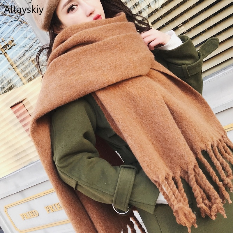 Scarves Women New Winter Solid Thickening All-match Long Warm Soft Womens Warps Tassel Trendy Scarf Simple Kawaii Students Shawl