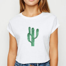 Женская футболка с принтом листьев и кактуса ulzzang круглым
