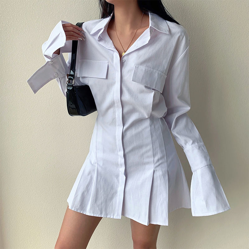 2021 Spring Long Sleeve White Pleated Shirts Women Casual Turn Down Collar Chiffon Blouse Office Lady A Line Style Vestidos Tops 7