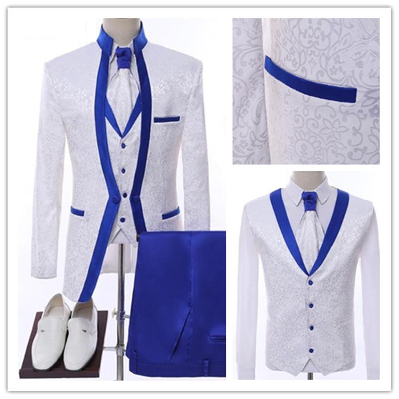 White Royal Blue Rim Stage Clothing For Men Suit Set Mens Wedding Suits Costume Groom Tuxedo Formal (Jacket+pants+vest)