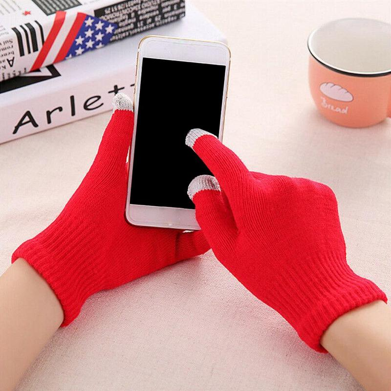 Gloves Female Autumn and Winter Thickening Cycling Warm Knit Gloves Do not Pick Color Screen Gloves Mobile Phone Gloves