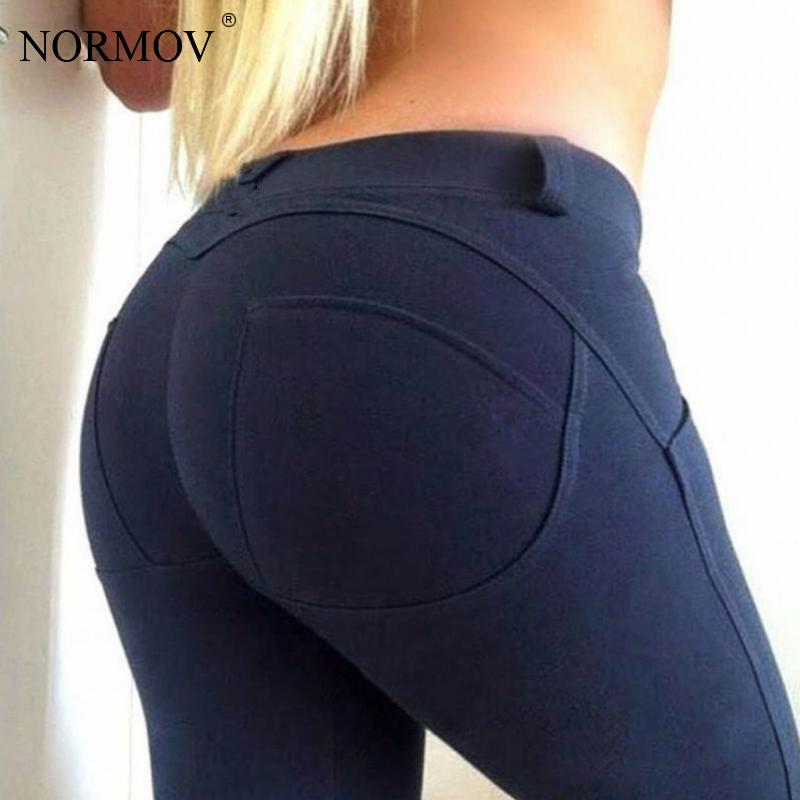 NORMOV tayt düşük bel Push Up elastik rahat tayt spor kadınlar için seksi pantolon vücut geliştirme legging
