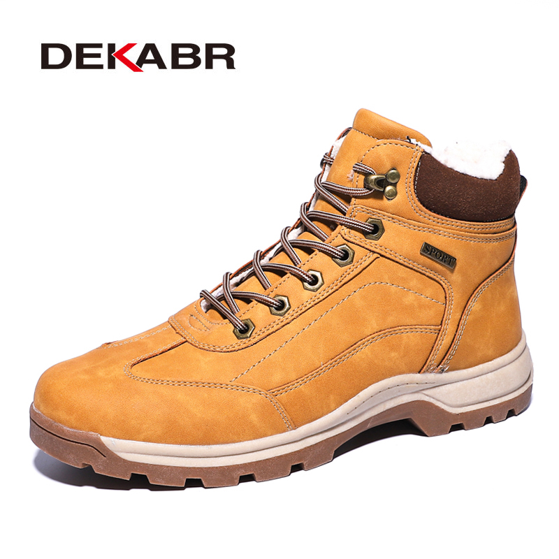 DEKABR Brand Genuine Leather Autumn Winter Warm Fur Classic Snow Boots Male Motorcycle Boots Men Warm Ankle High Top Men's Boots
