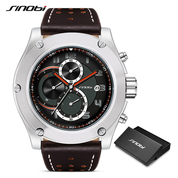 SINOBI Brand Sport Men Watch Luxury Male Leather Waterproof Chronograph Quartz Clock Military Wrist Watch Men Clock Saat Gift