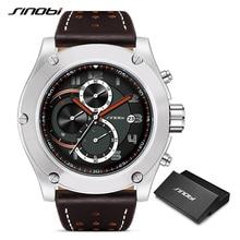 SINOBI Brand Sport Men Watch Luxury Male Leather Waterproof Chronograph Quartz C