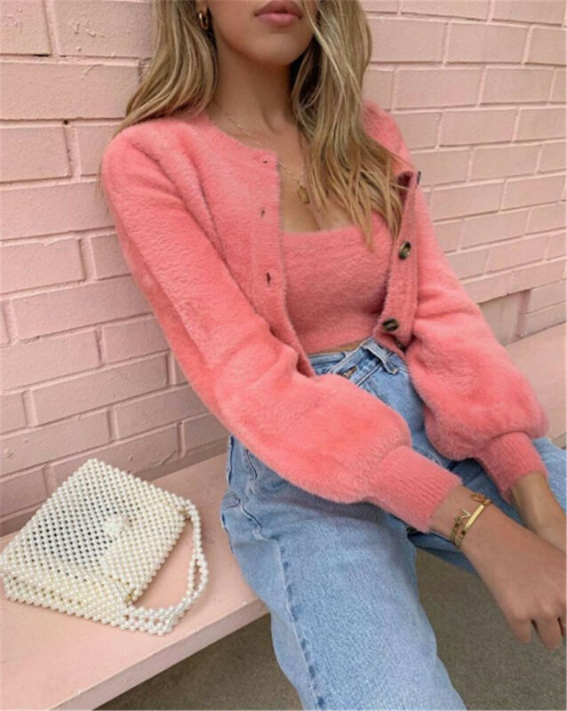 Women's 2 Pcs Long Sleeve Knitted Fluffy Cardigan Sweater Suit Casual Female Pink Slim Button Crop Sweater Tops For Femme