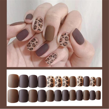 24 Pcs Frosted Leopard Nail Art Decorations Stickers Patch Foils Armour Full DIY Self Adhesive Sticker Nail Accessories image