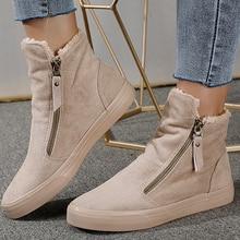 Snow-Boots Botines-Mujer Women Ladies Short Platform Plush-Shoes Ankle Winter Botas Zip