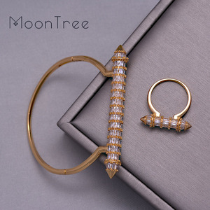 Image 3 - MoonTree New Arrive Luxury Nail Shape Super Shing Full AAA Cubic Zriconia Wedding Saudi Arabic Dubai Bangle Ring Set For Women