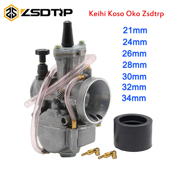ZSDTRP Universal Motorcycle 4T KOSO ZSDTRP KEIHIN OKO carburatore 24 26 28 30 32 34 mm con Power Jet Fit Race Scooter ATV UTV