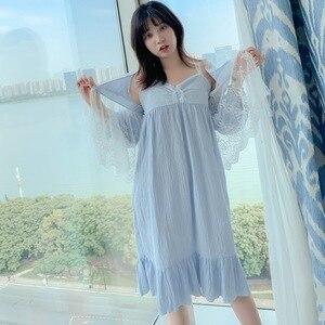 Image 5 - ฤดูใบไม้ร่วงใหม่ฝ้ายลูกไม้หวานเจ้าหญิงผู้หญิงRobe Twinsetสปาเก็ตตี้ชุดชุดนอน