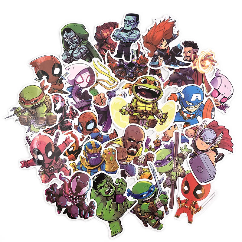 50 Pcs Marvel Anime Cute Waterproof Stickers For Graffiti Sticker For Skateboard Luggage Laptop Notebook Guitar Car Sticker