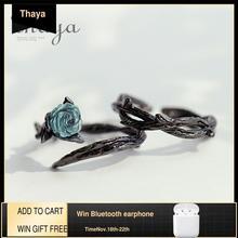 Thaya עלה קוצים s925 כסף טבעות כחול קריסטל רוז פרח בציר צמח האהבה מתנה עבור נשים קשר שחור בסדר תכשיטים