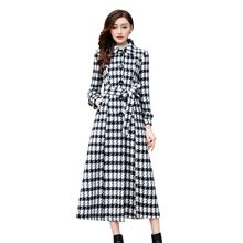 New Winter Women Maxi Long Woolen Coat Belted Slim Fit High Waist Female Plaid Overcoat Single Breasted Padded Wool Blends Coats(China)