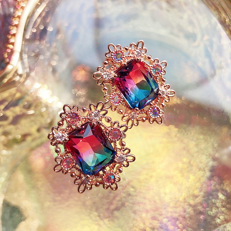 MENGQIAO New Fashion Vintage Square Crystal Stud Earrings For Women Simple Cute Boucle D'oreille Pendientes Jewelry Accessories