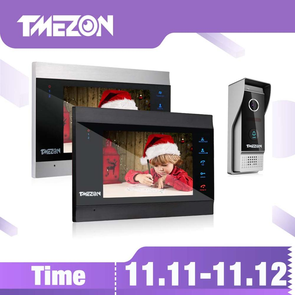 TMEZON 7 Inch Wireless Wifi Smart IP Video Door Phone Intercom System with 2 Night Vision Monitor + 1 Rainproof Doorbell Camera-in Video Intercom from Security & Protection