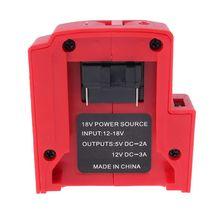 Adaptador de portas usb, dc 12v portas carregador de bateria fonte de alimentação para milwaukee 49 24 2371 m18 bateria
