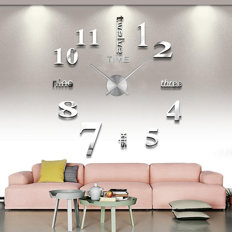 Wall Clock Quartz Modern Design Large Clocks European Acrylic Stickers