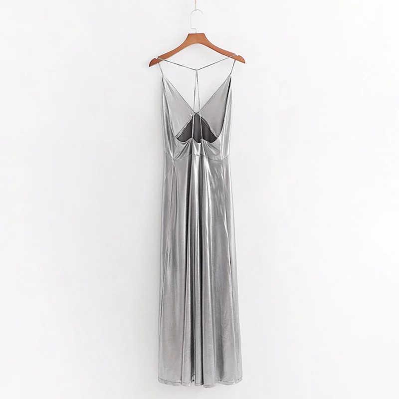 2019 Women Sexy Silver Long Za Dress Summer Women Fashion Metal color Stpaghetti Strap High Waist Elastic Straight Dresses Visdo