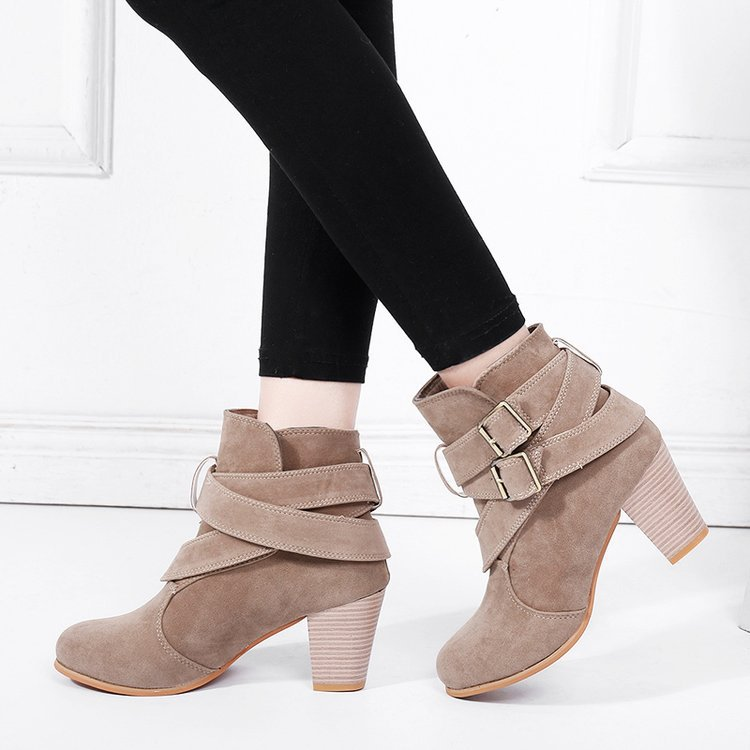Round Toe Fashion Concise PU Women Ankle Boots Med Buckle Sewing Vintage Chelsea Boots Square Heel Casual Solid Big Size Shoes