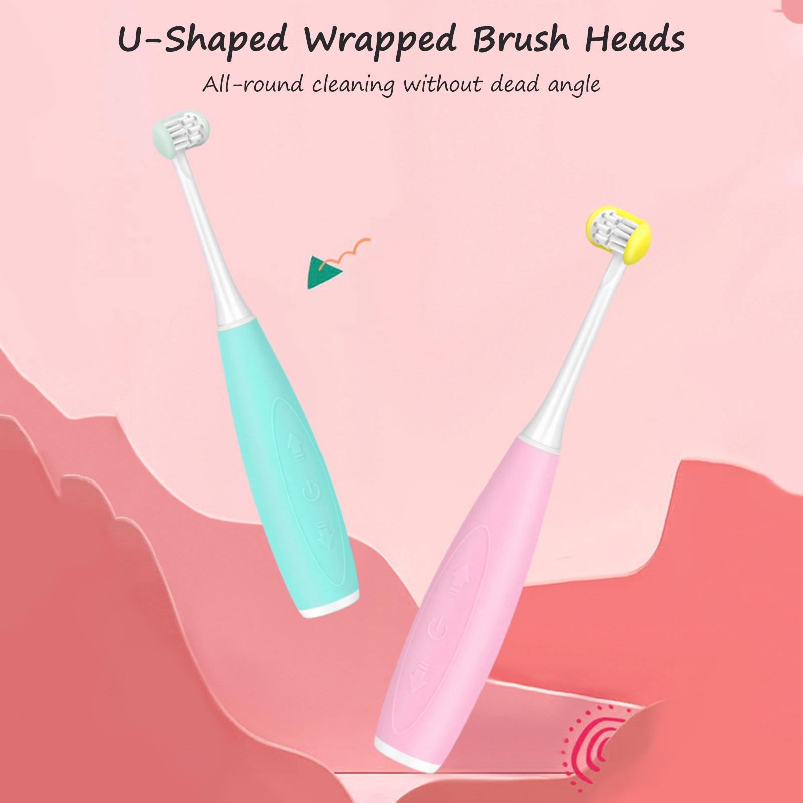 Brosse à dents électrique pour enfants brosse à dents en forme de U USB Sonic brosse à dents électrique de nettoyage avec deux têtes de brosse remplaçables