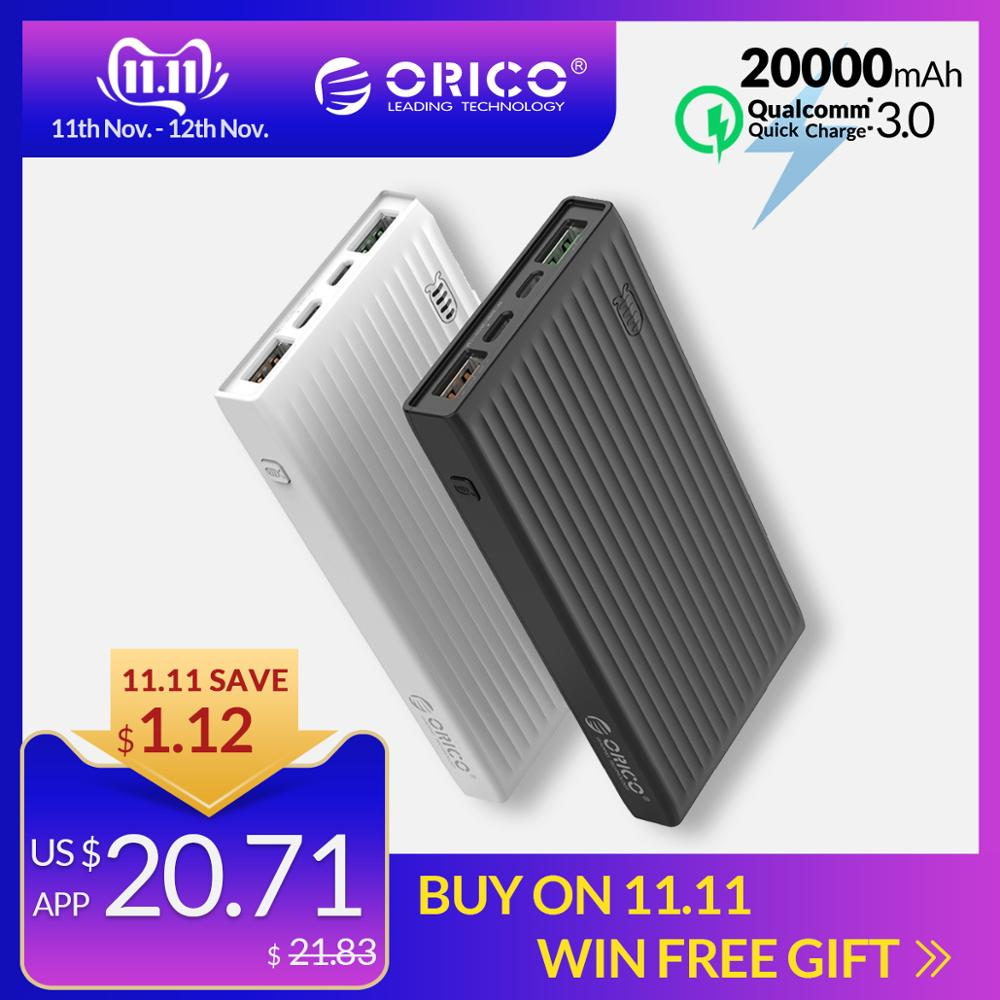 ORICO 20000mAh Power Bank QC3.0 Quick Charge 18W Powerbank External Battery For IPhone Huawei Samsung Type C For Macbook