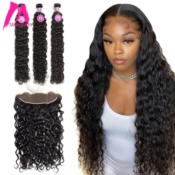 Water Wave Bundles With Frontal Human Hair Extension Deep Wave Brazilian 3 Bundles Wet And Wavy For Black Women Curly Weave Remy