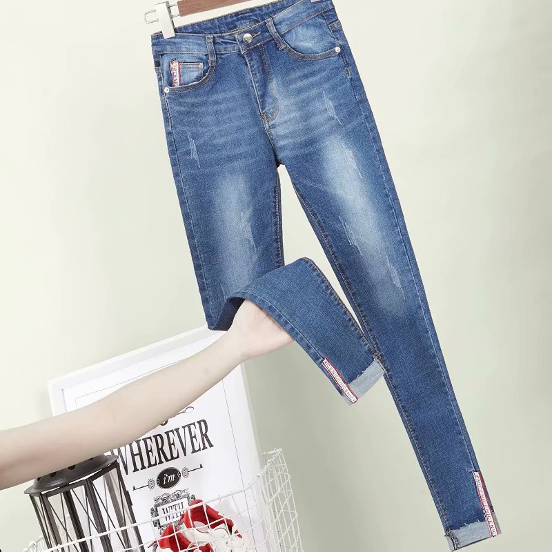 Summer Black Ripped Jeans Women's New Style High-waisted Capri Pants Sub-Korean-style Elasticity Slimming Tight-Fit Skinny Pants