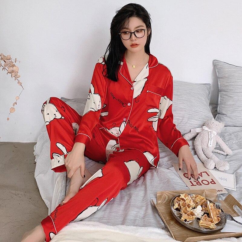 Youhttest 2020 Women Long Sleeve Silk Print Pajamas