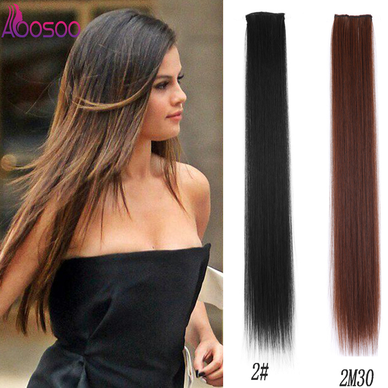Long Straight Synthetic Clip In Hair Extensions Heat Resistant Natural Hair Extensions 2 Clip In Hair Pieces Black 20