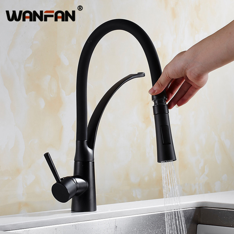 Kitchen Faucets With Rubber Design Chrome Mixer Faucet For Kitchen Single Handle Pull Down Deck Mounted Crane For Sinks N22-082