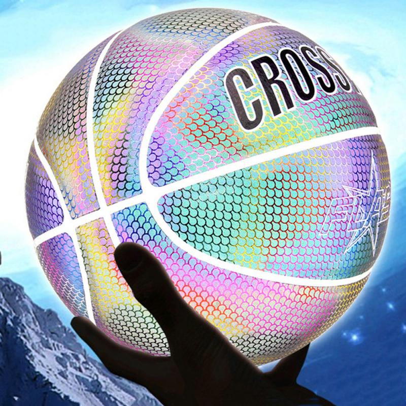 Holographic Basketball Glowing Reflective/Luminous NO.7 For Night Sports Wear-Resistant Glowing Basketbal Luminous Basketball