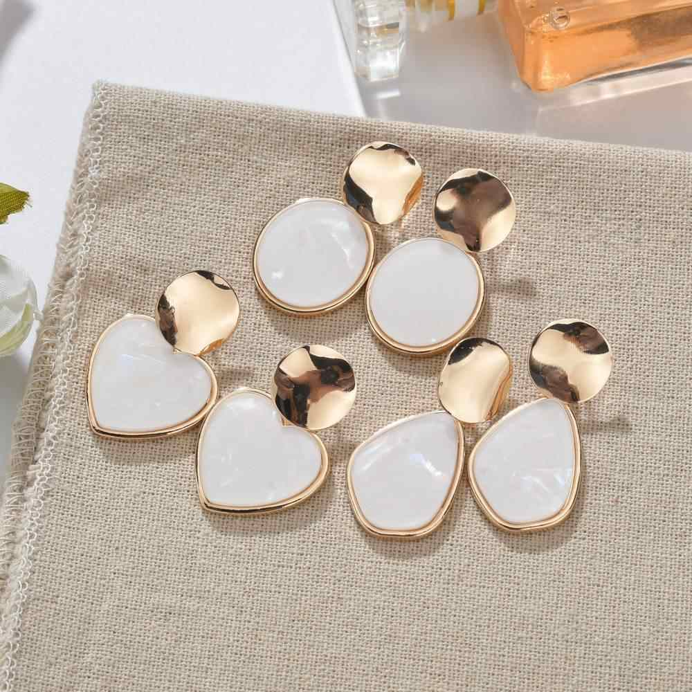 VOHE Gold Korean Fashion Heart Drop Earrings For Women 2019 NEW Trendy Handmade Geometric Round Sequin Dangle Earring Jewelry