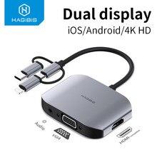 Hagibis VGA HDMI uyumlu adaptörü USB tip C/mikro USB 4K TV projektör monitörü HDTV dönüştürücü için tüm cep telefonları telefon cihazları