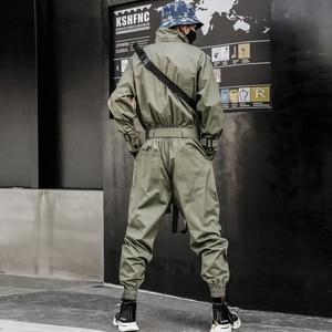 Image 2 - Aelfric Eden 2020 Hip Hop Streetwear Jumpsuits Men Ribbon Embroidered Cargo Pants Long Sleeve Rompers Joggers Techwear Men
