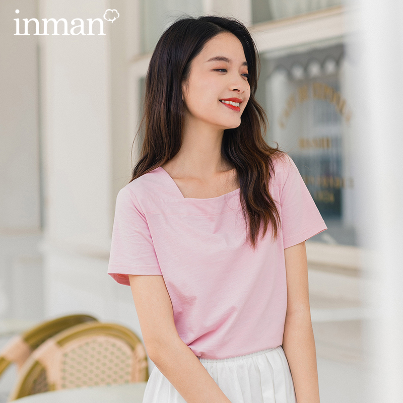 INMAN 2020 Summer New Arrival Solid Color Simple Joker Fashion Loose Style Cotton T-Shirt
