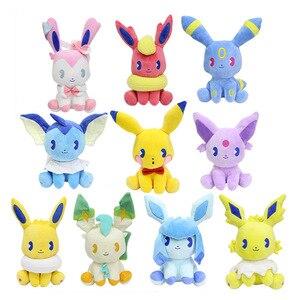 Hot pokemon pikachu Eevee Plush Dolls 10cm Flareon Umbreon Sylveon Leafeon Glaceon pokemon Plush Toys for children Free shipping(China)