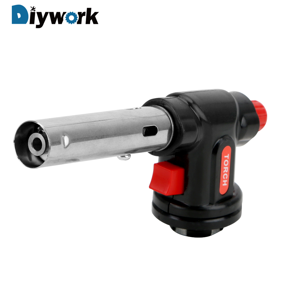 DIYWORK 504C Metal Gun Torch Cooking Blow Torch Butane Gas Welding Torch Gas Ignition Lighter For Camping Hiking Heating Welding