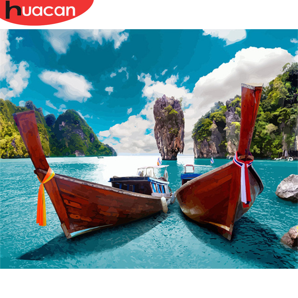 HUACAN Painting By Number Boat Scenery Kits Drawing Canvas HandPainted Home Decor DIY Oil Pictures By Numbers Sea Landscape