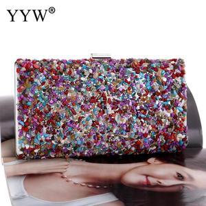 Image 3 - Pochette multicolore avec strass cristal, sac de mariage, sac à main de fête de bal nuptial, sac à main dashon pour Cocktail, pochette, 2019