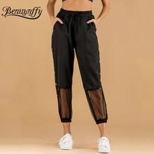 Benuynffy, черные брюки-карго с боковой пуговицей, женские весенне-летние сетчатые Лоскутные Повседневные Брюки с карманами и завязками на талии, брюки-Капри