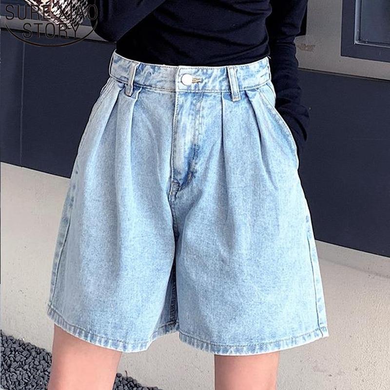 Plus Size Women's Denim Shorts Vintage High Waist Blue Wide Leg Female Jean Shorts Casual Summer Ladies Shorts Jeans 9001 50